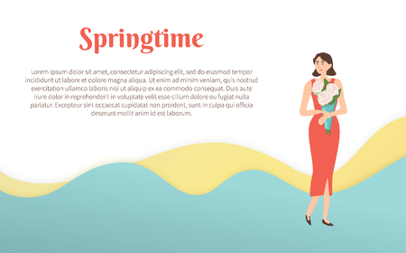 Springtime poster 8 march greeting, female holidays. Illustration