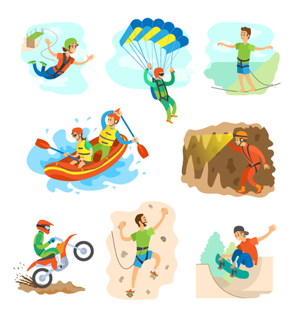 Extreme sports vector, speleotourism man in cave with flashlight, bungee jumping woman and highlining. Skydiving and wall climbing, skateboarding biking