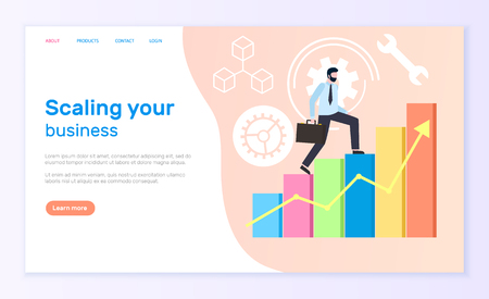 Scaling business worker with briefcase running up vector. Illustration