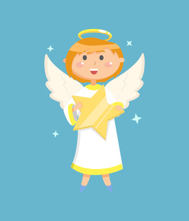Little person with wings and nimbus holding big glossy star, portrait view of flying angelic character in white clothes, blue background with kid vector