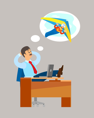 Man sitting at table and dreaming about extreme flying sport, hang gliding activity. Work place table and laptop, worker in suit and tourism mind vector Illustration