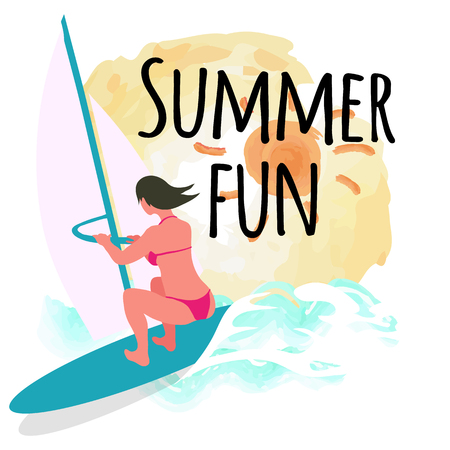 Summer fun postcard decorated by drawing sun and windsurfing woman, back view of person on board wearing pink swimsuit, female surfing, waves vector