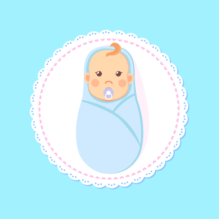 Baby shower greeting card, swaddled boy with nipple. Vector newborn 1 month infant in diaper, toddler son in cartoon style, milestones first days of person Illustration