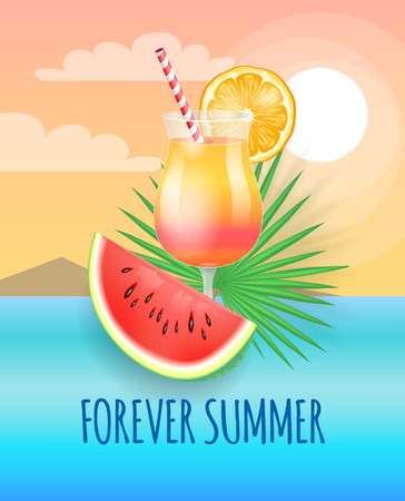 Forever summer banner, vector placard sample. Cocktail with straw and orange slice decor and watermelon piece, palm leaf isolated on cloud landscape