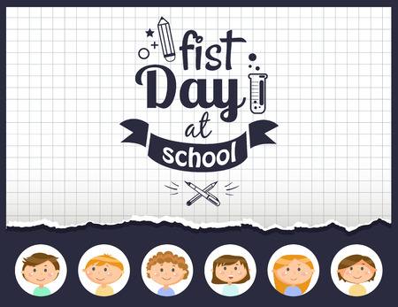 First day of school vector, pupils in circle frames. Squared paper print, monochrome drawing with ribbon for text, chemistry sign and pencil to draw