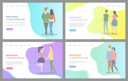 How to build happy relationship vector, man and woman holding hands of each other, relaxed people in love, cuddling and embracing tender. Website or webpage template, landing page flat style