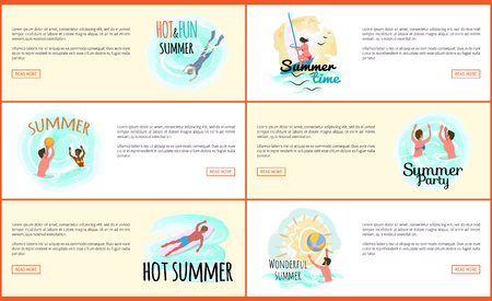 Wonderful summer vector, people relaxing by seaside. Man and woman swimming in sea water, scuba diving male and windsurfing female. Windsurfer web Stock Illustratie