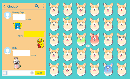 International social network vector, messenger chatting page with stickers.
