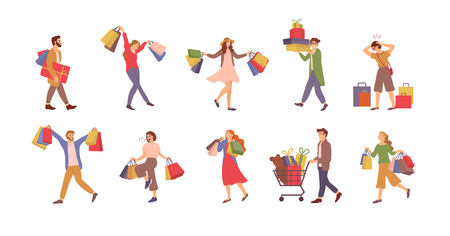 Walking people with bags vector, shopping man and woman holding packages with presents.