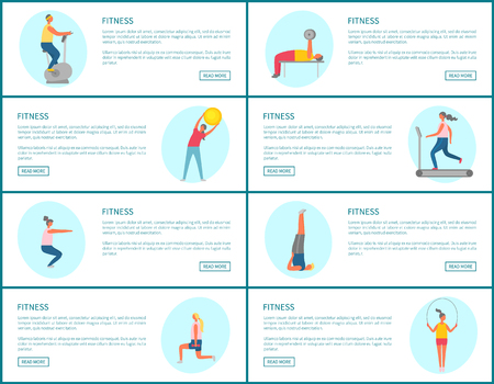 Fitness webpage set, strong people pumping muscles and lose weight, portrait view of people doing exercise, website of healthy lifestyle and sport vector