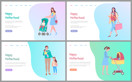 Happy motherhood vector, woman walking with kid sitting in perambulator, mother and child. Care for children, mom and pram, daughter and woman. Website or webpage template, landing page flat style