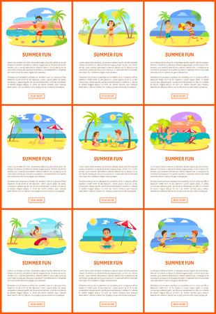 Summer fun vector, children on beach summertime vacation of kids. Illustration