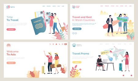 Time to travel vector, people wearing Chinese hats from Asia. Passport and flight tickets, couple with baggage, agency with offer sale on tours. Website or webpage template, landing page flat style