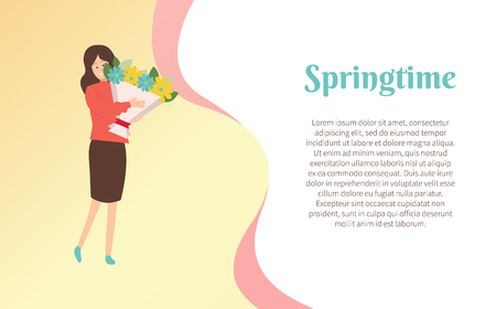 Springtime poster, woman on holiday vector, girl holding big bouquet. Çizim