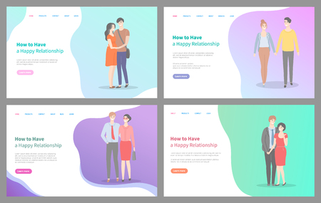 How to build happy relationship vector, people with partners, male and female walking holding hands, and smiling. Couples on first dates, website or webpage template, landing page flat style Stock Illustratie