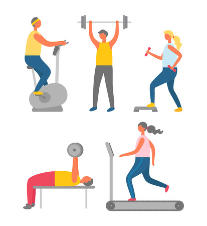 Stationary bicycle machine vector, jogging and dumbbells, barbells. Man and woman people leading active lifestyle, gymnastics exercises, athletes set