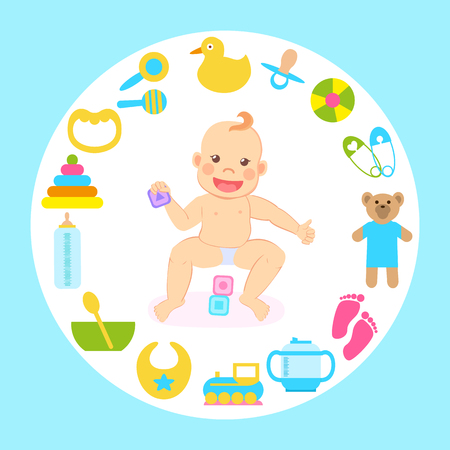 Child sitting with toys vector, rubber duck and plush bear, bowl with spoon and pins, dummy comforter and bottle with milk. Kid wearing diaper playing