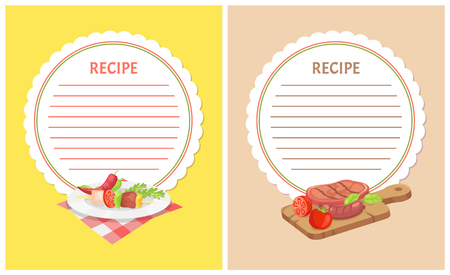 Recipe menu mockup with food ingredients on plate or wooden board. Vector kebab with vegetables, grilled meat and sausages and tomatoes with red pepper