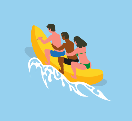 Summer sea adventures of people vector, man and woman sitting on inflatable banana boat holding each other. Male and female on holidays summertime vacation