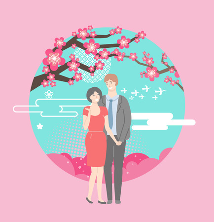 People in love vector, man and woman standing under sakura tree enjoying view of cherry blossom and flourishing flowers on branch, romantic date