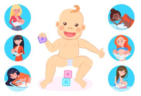 Vecteur de maternité, bébé portant des couches jouant avec des cubes, femme avec enfant s'occupant des enfants, mère allaitante avec ensemble isolé d'un nouveau-né Vecteurs