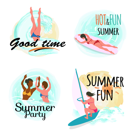 Summertime vacation vector, set of people on holidays flat style, people in water sea adventures of friends swimming and windsurfing, surfboarding Stock Illustratie