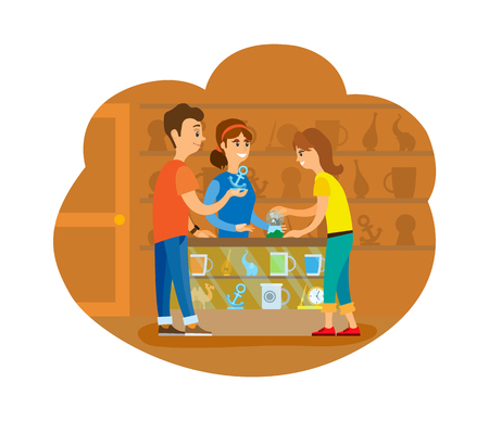 Couple of tourists buying souvenirs at shop vector. People standing inside store with cups and clocks, statue and handmade items. Flat style drawing Illustration