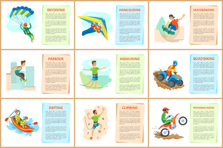 Parkour and wall climbing activity vector, extreme sports, hang gliding and highlining, rafting in boat and skateboarding of person, quad biking set