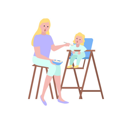 Portrait view of mother feeding with spoon daughter sitting on high chair, parent and kid vector. Motherhood concept, mom gives food to girl isolated Vektoros illusztráció