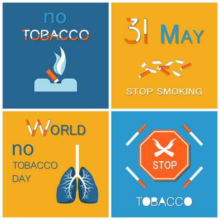 World no tobacco day WNTD celebrated on 31 May, broken cigarettes, stop sign with crossed hands. Abstinence from nicotine consumption around globe vector
