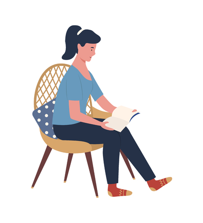 Person enjoying reading alone vector, woman sitting on chair with pillow on back holding book. Flat style isolated relaxing lady with ponytail at home