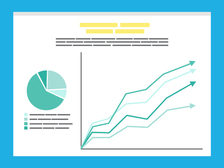 Circle diagram and growth arrows on board. Slide with template presentation of chart and rising pointers. Business analytics and statistics vector Illustration