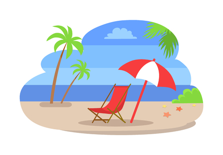 Seaside water and beach isolated vector. Coastline with sea and palm trees, bushes growing on sand. Umbrella and chaise deck chair, starfish on ground