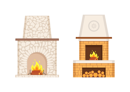 Fireplace with flames and burning logs icons set vector. Stone and brick pavement of furnace, prolonged chimney type, storage for wooden branches