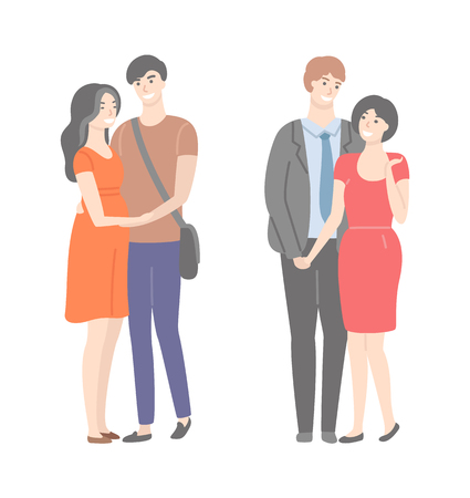Happy families, wife and husband in gentle hugs isolated. Two married pairs, woman in red dresses and smiling males. Vector people in flat cartoon style