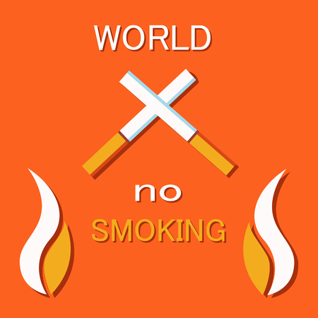 No smoking sign crossed cigarettes, not allowed tobacco symbol, forbiddance of smoke in public place vector illustration of cigar and burning fire poster