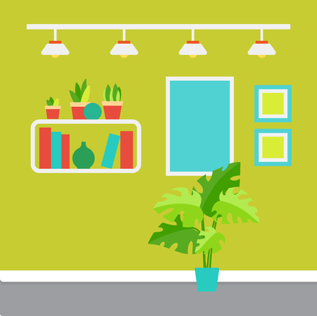 Room decor vector, shelves with printed books and house plants. Illustration