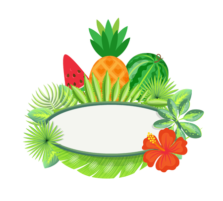 Frame with tropical fruits and exotic leaves isolated border with spare place. Vector piece of watermelon, pineapple and red flower, green foliage