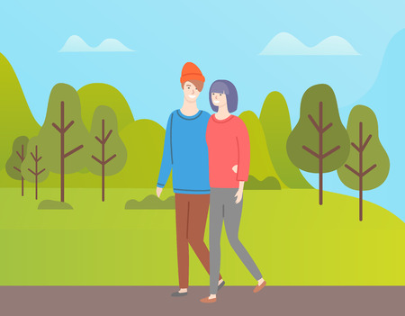 Man and woman walking vector couple in green spring forest.