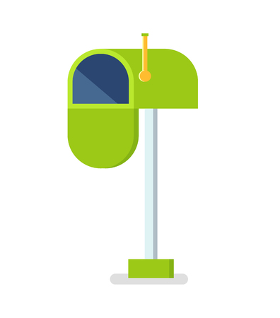 Open mailbox vector isolated icon. Letter box for correspondence, postage for messages, incoming mailing correspond, metallic inbox of green color 向量圖像