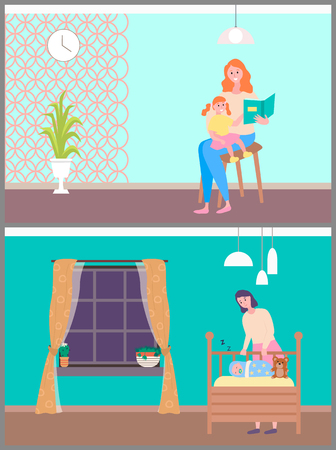 Woman sitting with daughter on chair and reading book together, mom caring and sleeping baby.
