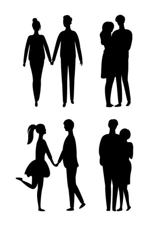 People silhouettes isolated young couple in love. Vector hugging man and woman, embracing lovers monochrome teenagers. Young and middle age males and females Standard-Bild - 124007660