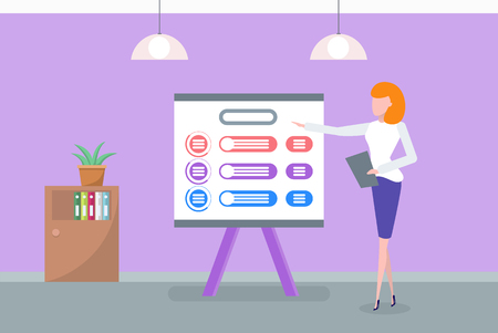 Presenter with whiteboard and information vector. Presentation at office, woman explaining main ideas of project, design of office, business info