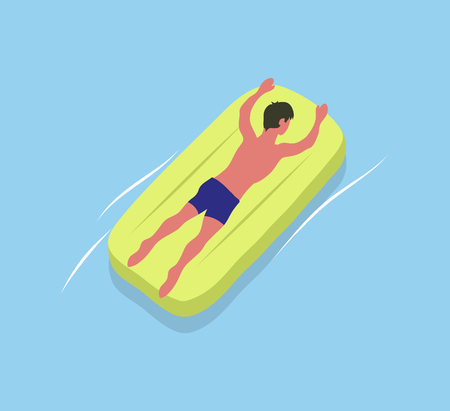 Man suntanning on yellow mattress isolated male character in blue trunks. Illustration