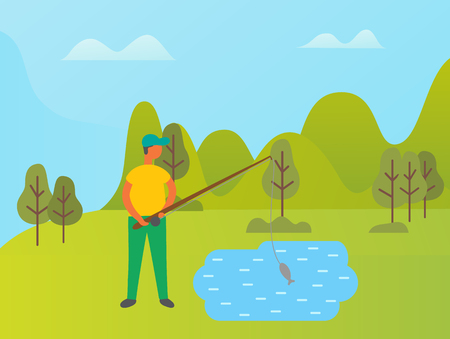 Person spending time in park vector, man standing by lake on shore. Green nature and trees in forest, summer activities for people. Mountains and hills