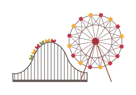 Ferris wheel and roller coaster on white, round attraction and road with rise, amusement park with colorful objects, leisure and entertainment vector