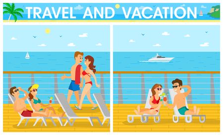 Travel and vacation on cruise liner, men in shorts and women in swimsuit lying on chaise lounge. Ilustrace