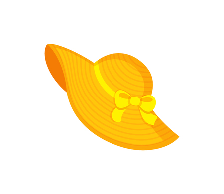 Yellow beach hat decorated by ribbon and bow, headgear for women. Bright headdress in flat style, element for decoration, summer straw hat vector