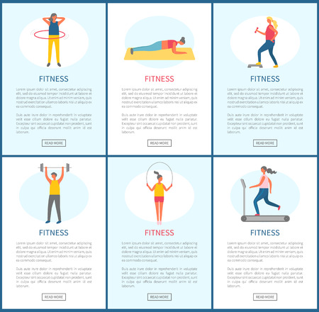 Fitness websites vector, people in gym losing weight and keeping fit.