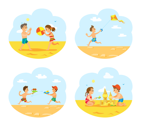 Beach vacations of children vector, boys and girls playing on beach. Illustration